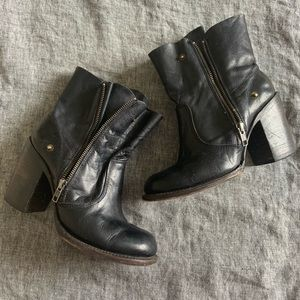 Freebird black leather moto boots with zippers 8